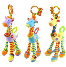 Wholesale Infant Toy Mobile - Quality deer plush toys bed baby mobile hanging baby rattles toy giraffe with bell ring infant teether Toys gift