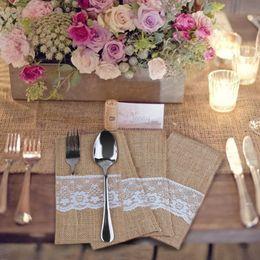 "Wholesale Burlap Lace Wedding - 10Pcs Packaging Fork &Knife Holder Pocket 4""X 8""Vintage Jute Burlap Lace Chic Tableware Pouch For Wedding Party Decoration"