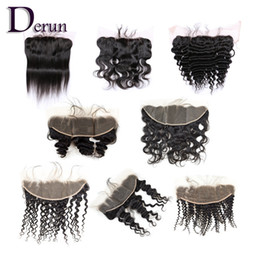 Wholesale Ombre Style - Brazilian Indian Peruvian Malaysian Pre-plucked Lace Frontal 13x4 With Baby Hair Ear To Ear Bleached Knots 8 Different Styles Virgin Hair