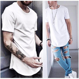 Wholesale Wholesale Tee Shirts Men - t shirts for men Kanye West Extended T-Shirt Curved Hem Long line Tops clothing Tees Hip Hop Urban Blank Justin Bieber TX135-F2