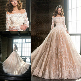 wedding dress flowered train Coupons - Gorgeous Illusion Bateau Neck Flower Wedding Dresses Sheer Long Sleeve Lace Plus Size Tulle Saudi African Bridal Gowns Ball Formal Custom