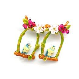 Wholesale Bird Cage Earrings - 2017 Love bird enamel glaze blue tulips bird cage white flowers green leaves Statement Earrings For Women jewelry Wholesale