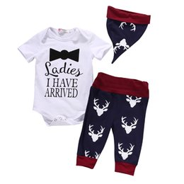 Wholesale Cute Christmas Girl Outfits - Toddler Deer Pants Kids Winter Hat Outfits Baby Girl White Bodysuit Cute Baby Boy Letter Top Infant Christmas Deer Clothing Set