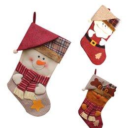 Wholesale Santa Claus Tree Ornaments - Wholesale-New Year Christmas Stockings Socks Plaid Santa Claus Candy Gift Bag Xmas Tree Hanging Ornament Decoration