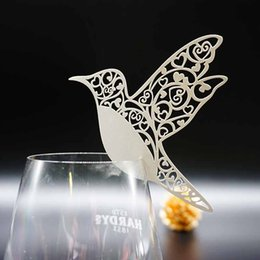 Wholesale Bird Laser - 50pcs Flying Birds Place Name Card Wine Glass Card Laser Cut Paper Cup Card Table Mark Wedding Party Decoration