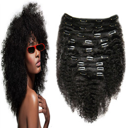 Wholesale Clips For Natural Hair - african american clip in human hair extensions 4a 4b 4c Afro Kinky Curly Clip In Hair Extensions For Black Woman