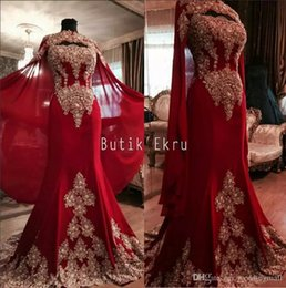 Wholesale Black Pearl Pictures - Luxurious Lace Red Arabic Dubai India Evening Dresses Sweetheart Beaded Mermaid Chiffon Prom Dresses With A Cloak Formal Party Gowns