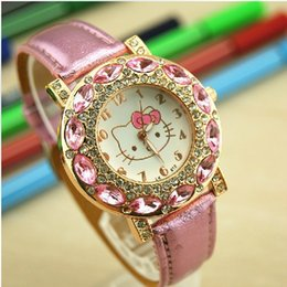 Wholesale Student Dresses - KT Cat leather watches Crystal design fashion Watches Women ladies quartz dress wrist watches casual students girl watch