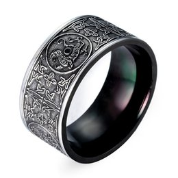 Wholesale Stainless Steel Titanium Rings - 2017 new personality punk Titanium steel Rings Round shape Luxury black Upscale rings men s steel Business Type Fashion Jewelry Wholesale