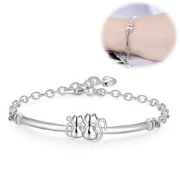 Wholesale Classy Girls - Latest Women Classy Design 925 Silver Plated Bracelet Factory Direct Sale Trendy Cute Cats Charms Bracelet & Bangle Lady Girl Birthday Gift