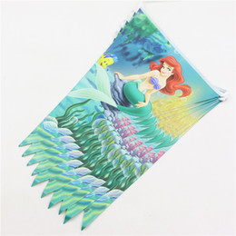 Wholesale Cm Themes - Wholesale- Kids Girls Baby Happy Birthday Party Decor Banner Flag The Little Mermaid Theme Party Pennant Baby Shower Favors 1Pack