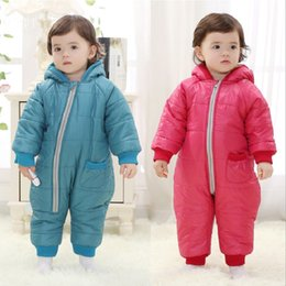 Wholesale Warm Rompers - Thick Fleece Baby Rompers Winter Coats Infant Hooded Jumpsuits Baby One-Piece Clothes Boys Outfits 3 Layers Warmer Bebe Roupas