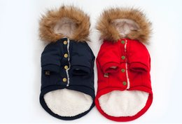 Wholesale Padded Shirt Small - Free Shipping Warm Winter Dog Cotton padded Clothes Small Dogs Horn Buttons Pet Cat Coat Jacket Costume Clothing For Chihuahua