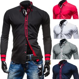 Wholesale Men Dress Shirt Red Xxl - Hot Sales New Men's Dress Shirts Spring Fall Tops Slim Long Sleeve Single-breasted Fashion Casual Clothing Men Solid Shirts M-XXL