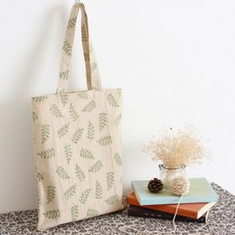 Wholesale Eco Bags Linen - Wholesale- YILE Updated Cotton Linen Shopping Tote Shoulder Carrying Bag Eco Reusable Bag Print Green Olive Branch L017