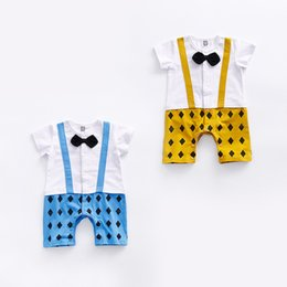 Wholesale New Baby Block - 2017 baby 2 color new styles Hot sell infant kids Summer high quality cotton Cartoon block Gentleman bow tie short sleeve climb romper