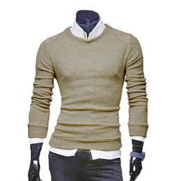 Wholesale Collar Blouse Neck Designs - Wholesale- 2016 Men Autumn Winter Slim Collar Long-sleeved Sweater Top Blouse Patch Designs Solid Pullovers O-Neck Sueter For Masculino N5