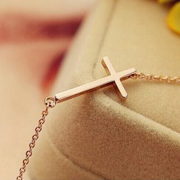 Wholesale Christian Jewelry For Women - Christian Horizontal Sideway Jesus Cross Crucifix Pendant Necklace 18K Rose Gold Plated Fashion Jewelry for Women Christams Gift