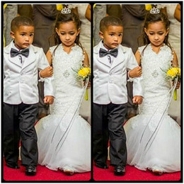 Wholesale Enfant Lace Dresses - Romantic V Neck Mermaid Flower Girl Dresses for Weddings Floral Appliques Beautiful Little Girls Dress 2017 Robe enfant mariage