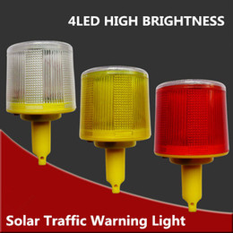 Wholesale Solar Safety Lights - Wholesale- 4LED Solar Powered Traffic Warning Light, white yellow red LED Solar Safety Signal Cone beacon Alarm Lamp tower hanging light