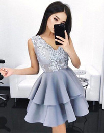 Wholesale Deep Pink Graduation Dress - 2017 Short Silver Lilac Seniors Homecoming Dresses Lace V-neck Satin Tiered Cocktail Party Gowns Mini Sweet 16 Graduation Prom Dress
