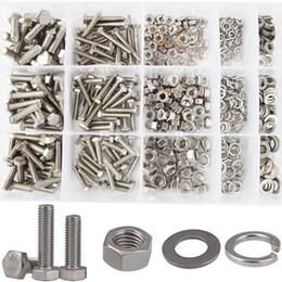 Wholesale Screw Nuts Bolts Washers - Hex Flat Head Bolts M4 M5 M6 Metric Screws Nuts Flat and Lock Washers Assortment Kit 304 Stainless Steel,510pcs