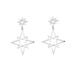 Wholesale White Gold Star Stud Earrings - Wholesale 10Pcs lot 2017 New Fashion Jewelry Double Stars 18K Gold Earrings For Women Shooting Exaggerated Orion Stud Earrings 925 Silver