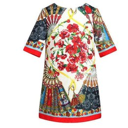 Wholesale Chinese Outfits Children - Kids Girls Floral Print Dresses 2017 New Baby Girl TUTU Dress Princess Half Sleeve Party Dress Outfits 2017 Children Clothing Wholesale S020