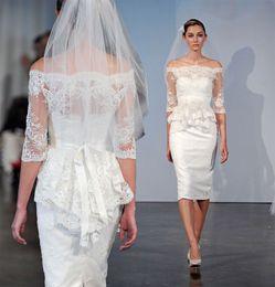 Wholesale White Simple Informal Wedding Dresses - 2017 New Short Sheath Knee Length Wedding Dresses With Half Sleeves Off the Shoulder Vintage Lace Informal Reception Bridal Gown