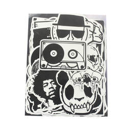 Wholesale Switch Military - 100PCS Random Music Film Vintage Vinyl Skateboard Snowboard Guitar Travel Case Bicycle Sticker Lot Pack Decal Combo Black and White