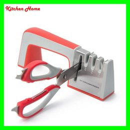 Wholesale Knife Scissor Sharpener - 4 Stages in 1 Multifunctional Kitchen Sharpener for Knives and Scissors Kitchen Home Sharpening Stone tools