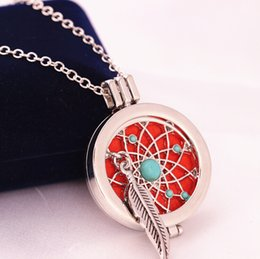 Wholesale Scent Oil Diffuser - 2017 locket silver plated DIY scented oil diffuser open box long chain pendant Statement Necklace for Women Jewelry wholesale Free shipping