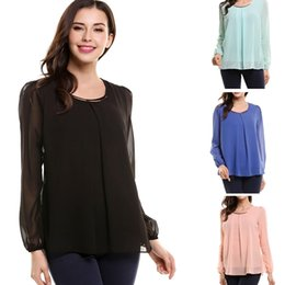 Wholesale Womens Career Shirt Xl - 2017 New Designer Sexy womens tops Casual Chiffon Pleated Shirt Career Blouse plus size loose Long Sleeve 4 Colors