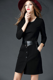 Wholesale Mini Skirts Tights - Ladies Dress Black Casual Dress long sleeved Tight dress Sweater package hip skirt suit women OL business wear