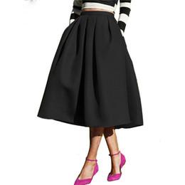 2f95317b986db Female Fashion Street Style Women s Solid Casual Flare High Waist Pleated  Pockets Vintage Midi Skirt