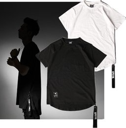 Wholesale Designer Shirts Wholesale - Wholesale- 2017 Fashion Harajuku Summer Brand Designer Punk Rock Mens Tshirt Curved Hem Tee 3d Side Zip T-shirt Men Yeezus Hip Hop T Shirt
