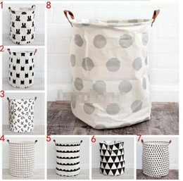Wholesale Printed Laundry Bags - INS Kids Room Toys Storage Bags Bucket Laundry Bag Home Nursery Storage Basket Canvas Organizer Cartoon Polka Dot Laundry