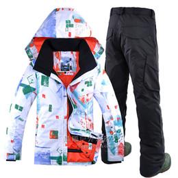 Wholesale Snow Ski Board - New outdoor printing graffiti ski suit GSOU SNOW Men's winter double board single board windproof waterproof male ski suit wintre