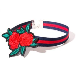 Wholesale rose flower types - 3 Type Embroidery Rose Choker Necklace Stripe Collars Flower Red Rose Fashion Statement Jewelry Gift for Women Drop Shipping