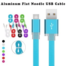 Wholesale Blue Roses For Sale - 2017 Hot Sale 1M 3Ft Aluminum Metal Colorful Flat Noodle Micro USB Data Cables Charging Sync Charger Cable Leads Wires