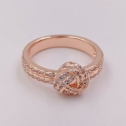 Wholesale Silver Knot Charms - Rose Gold Plated & 925 Sterling Silver Ring Sparkling Love Knot European Pandora Style Jewelry Charm Ring Gift 180997CZ