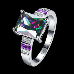 Wholesale Wholesalers Wedding Gifts Australia - Lucky Shine big Stone Ring Florid Fashion Colorful zircon Crystal 925 Sterling Silver Rings Russia American Australia Wedding Rings