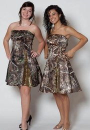 Wholesale Courtesy Lights - Short Strapless Courtesy Of Simple Strapless Satin Formal Camo Bridesmaid Dress Damsel Maid Of Honor For Girls Paillettes Off Shouder