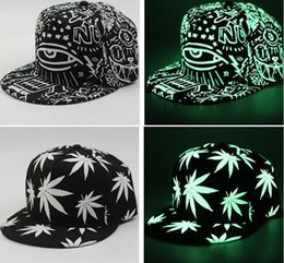 Wholesale Hip Hop Pops Wholesale - Fashion Men Women Baseball Cap Hip Hop Glow Eyes Graffiti   Maple Leaf Fluorescent Hat Hip-Pop Cap Hat Snapback Luminous Black Ball Caps
