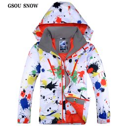 Wholesale Snowboards Jacket Men - Wholesale- GSOU SNOW 2017 New Designer Snowboard Jacket Male Outdoor Hiking and Camping Coat Winter Waterproof Windproof Clothing for Men