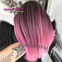 Wholesale Colour Hair Highlights - New Mermaid Highlight color wig Synthetic Wigs Online Black Roots Ombre Pink Hair Colour Neat Bang  fringe style wigs for Black  White Women