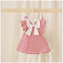 Wholesale Korean Style Striped Shirt - 2017 Baby Girls Dress Stripe Bowknot Fly Sleeve Princess Tops Summer Bow Striped Korean Toddler Casual Shirts Kids Party Dresses C566
