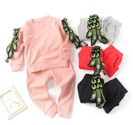Wholesale Sport Trousers Child - Spring Children Girls Fashion Peacock Leather Sleeve Tops + Pants 2 pcs Outfits Girls Boys Wing Design Shirt Trousers Sport Set B4497