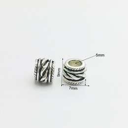 Wholesale 7mm Spacer Bead Bracelet - Fashion Jewelry Beads 9*7mm Hole 5mm Antique Silver European beads For European Bracelets Big Hole Spacer Bead