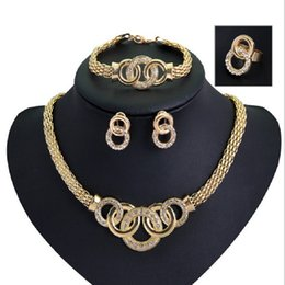 Wholesale Womens Gold Rings Cheap - Cheap Bracelets Necklaces Earrings Rings Sets Womens Fashion Rhinestone 18K Gold Plated Alloy Circles Party Jewelry 4Pcs Set Wholesale